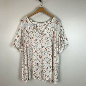 Lucky Brand White Floral Peasant Knit Top